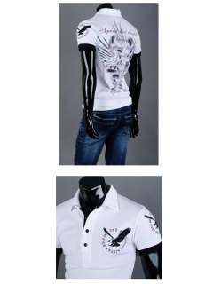 Mens Fashion Casual Slim Fit Tattoo Printed Polo Collar T Shirts Tops