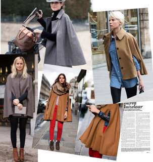 Hot Lady Wool shawl cape Fashion Poncho Coat 2 Color
