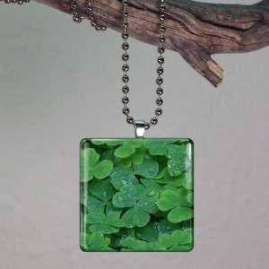 Clover St Patricks Day Irish Glass Tile Pendant 824