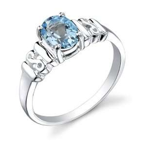 Silver Rhodium Finish 1.50 cts Oval Shape Swiss Blue Topaz Ring Size 9