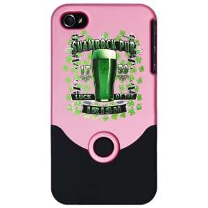 iPhone 4 or 4S Slider Case Pink Shamrock Pub Luck of the Irish 1759 St
