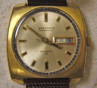 Waltham calendar day date wrist watch Incabloc 25 NR lot self winding