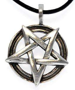 INVERTED PENTAGRAM Pewter Pendant Leather NECKLACE CORD