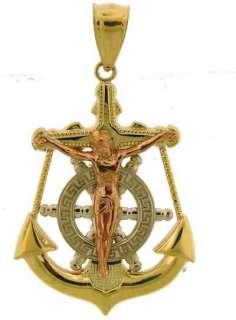 YELLOW GOLD MULTI TONE ANCHOR JESUS CROSS CHARM PENDANT