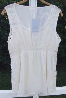 ADIVA USA SOFT ANTIQUE IVORY 2pc LACE SLEEVELESS SHIRT TOP BLOUSE P