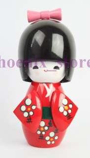 PRETTY RED HANDMADE JAPANESE WOODEN DOLL 9cm