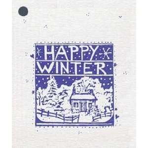 100 Hang Tags HAPPY WINTER & 100 Cut Strings for Crafts