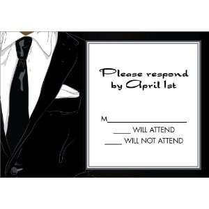 Suited Up Black African American Response Card Birthday