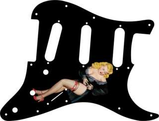 Pick Guard for Fender Stratocaster Guitar Pin Up Girl Black Negligee