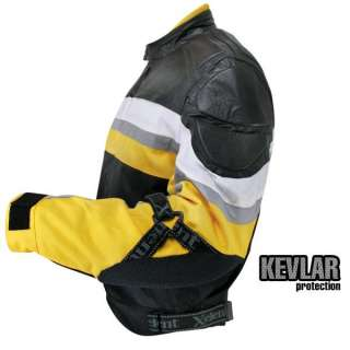 Mens Armored Black&Yellow Fabric and Leather Jacket with Kevlar