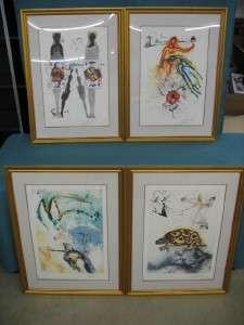 Set of 4 Salvador Dali Alice In Wonderland SIGNED Lithographs