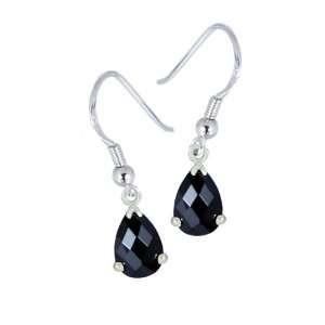 Sterling Silver Black Cubic Zirconia Drop Earrings