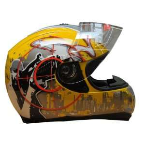 Dot Adult Yellow City Man Full Face Motorcycle Street Helmet (L23 23