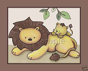 Lion Daddy and Baby Jungle animal nursery wall art kids