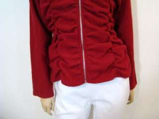 NEW by 2 Friends Red Boiled Wool Ruched Jacket Coat Sweater M $98 NWT