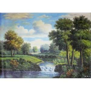 RIVER in Rural Setting Country Scene Oil Painting Large 3