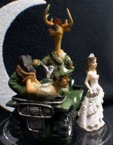 Deer Hunting Funny Hunter Groom WEDDING CAKE TOPPER TOP Dark hair