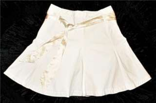 New Banana Republic White Skirt Womens 4 Cotton Lined A Line Flare