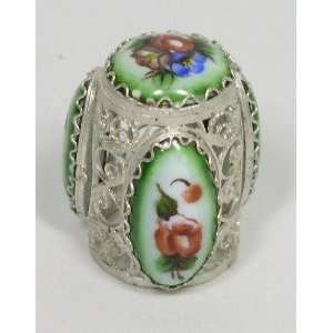 Russian Thimble Filigree/Hand Painted Enamel (1109