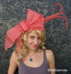 NEW Womens Kentucky Derby Fascinator Hat Bow Orange Coral Sinamay
