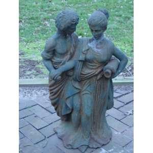 Iron Draped Classical Roman Man and Woman Sculpture