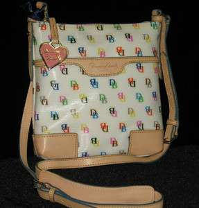 Dooney & Bourke White Rippled Patent Letter Carrier Crossbody NT725WH