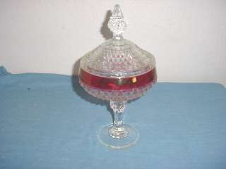 Diamond Point cranberry flash Pedistal Candy Dish & Lid