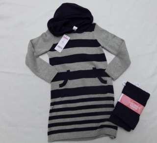 NEW Gymboree Purple Gray striped sweater dress cropped leggings set 5