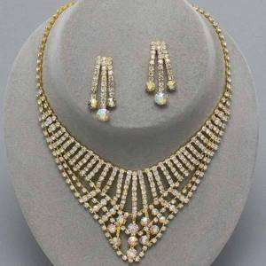 Gold Stick Clear AB Rhinestone Earrings Necklace Set