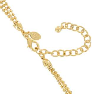 Rivers Long 3 Strand Chain Faceted Balls Gold Tone Necklace