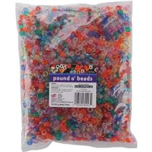 Pony Beads 6x9mm 1 Pound/Pkg: Transparent Multi: Arts
