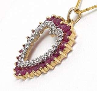 14k GOLD DIAMONDS RUBIES OPEN HEART PENDANT NECKLACE
