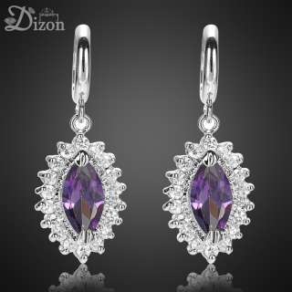Christmas Gift Jewelry PURPLE AMETHYST 18K WHITE GOLD GP HOOP DROP