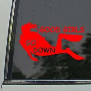 Good Girls Go Down Red Decal Scuba Dive Diver Car Red