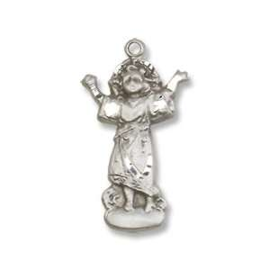 Sterling Silver Divino Nino Medal with 18 Sterling Silver