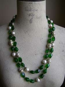 Vintage Signed CROWN TRIFARI Emerald Green Glass Beads Necklace
