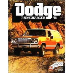 1978 DODGE RAMCHARGER Sales Brochure Literature Book