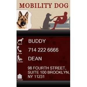 MOBILITY DOG ID Badge   1 Dogs Custom ID Badge   Design#2