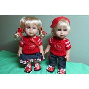 Valentine love heart doll pair