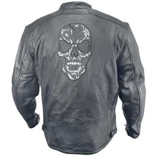 Xelement Armored Mens Leather Motorcycle Jacket with Skull Embroidery