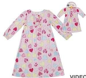 Girls Dollie & Me Pink Heart Nightgown Matching Set