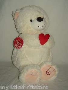 Electronic Talking Plush White Bear I LOVE YOU Bear with Tags
