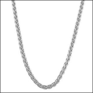 14k Solid White Gold Round Wheat Chain Necklace 20
