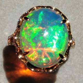 2Ct Natural Opal 18K Rose Gold Diamond Exquisite Rarely Seen Ring COL6