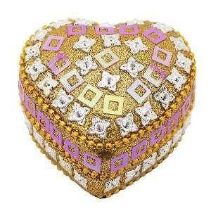 Lisbeth Dahl Rose and Gold Glitter Heart Shaped Box