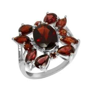 8.40 Ct Genuine Red Garnet .925 Sterling Silver Ring Size