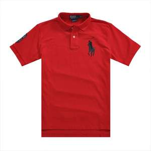 New Ralph Lauren Mens Leather Big Pony Polo Shirt Red/Black NO.3
