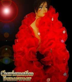 RED JUMBO RUFFLE drag Queen SPECTACULAR DIVA SISSY Organza BOA