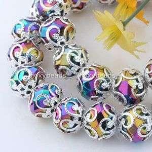 10MM *Rainbow Crystal Glass Beads Stretchy Bracelet 6L