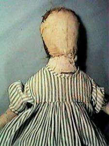 18 Antique Primitive Cloth or Rag Doll Bl Stripe Dress